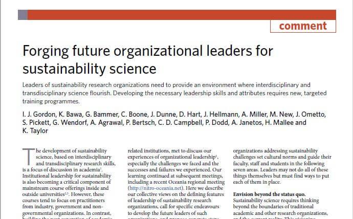É preciso criar novas lideranças para a ciência da sustentabilidade, dizem pesquisadores